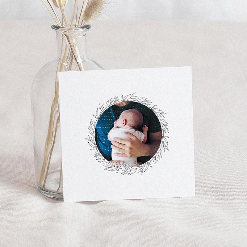 Carte Remerciement Naissance Renard Roux, Décor floral, Photo