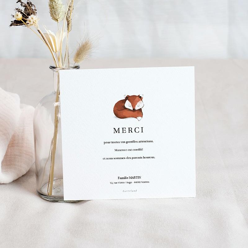 Carte Remerciement Naissance Renard Roux, Décor floral, Photo pas cher