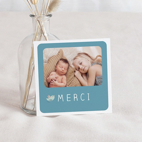 Carte Remerciement Naissance Trop chou bleu, Oiseau, Photo