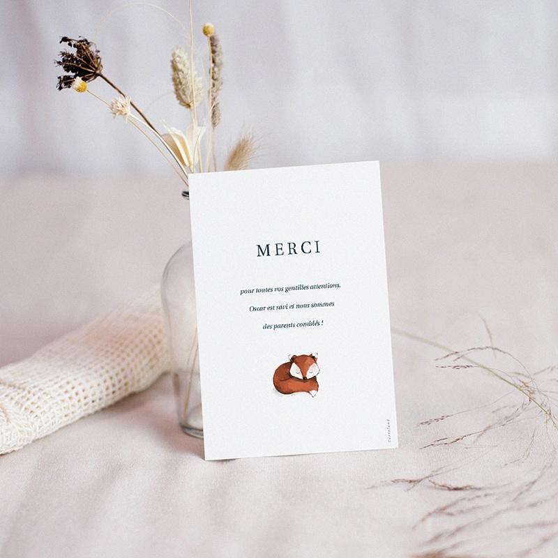 Carte Remerciement Naissance Renard roux, Fond marron, Photo pas cher
