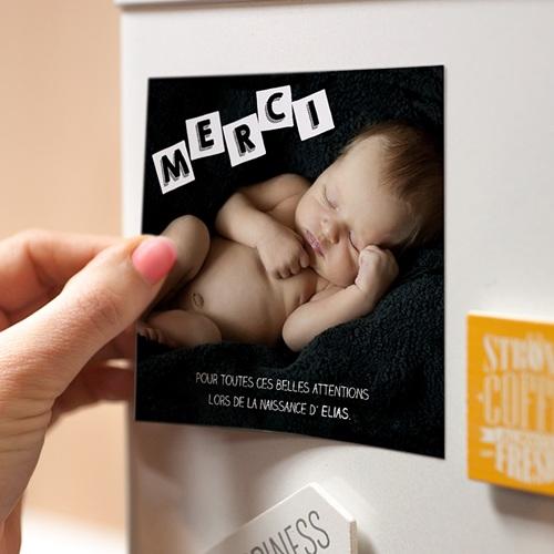 Carte Remerciement Naissance Alphabet de Bébé, Magnet pas cher