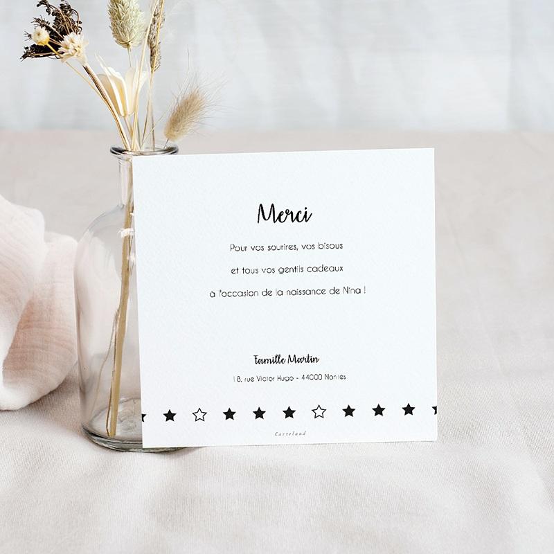 Carte Remerciement Naissance Etoile Scintillante, Noir & Or pas cher