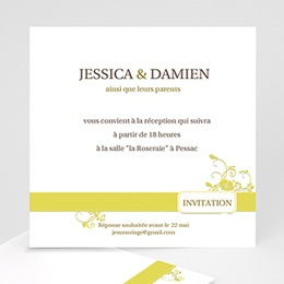 Invitations Mariage Design Marron et Bandeau Jaune