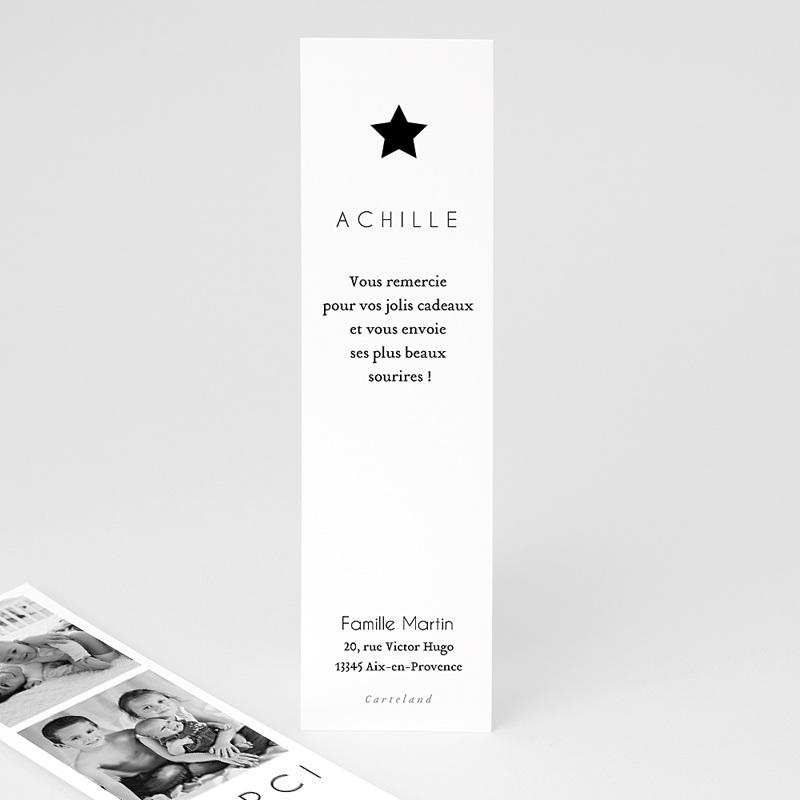 Carte Remerciement Naissance Etoile dorée, 3 Photos pas cher