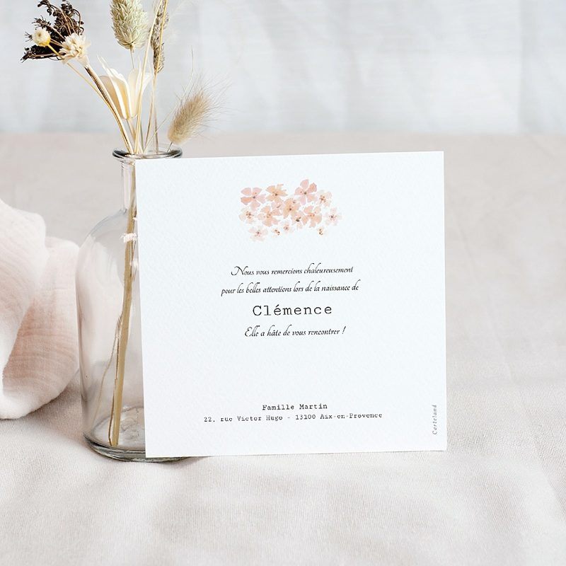 Carte Remerciement Naissance Fleurs Aquarelle Pêche, Photo pas cher