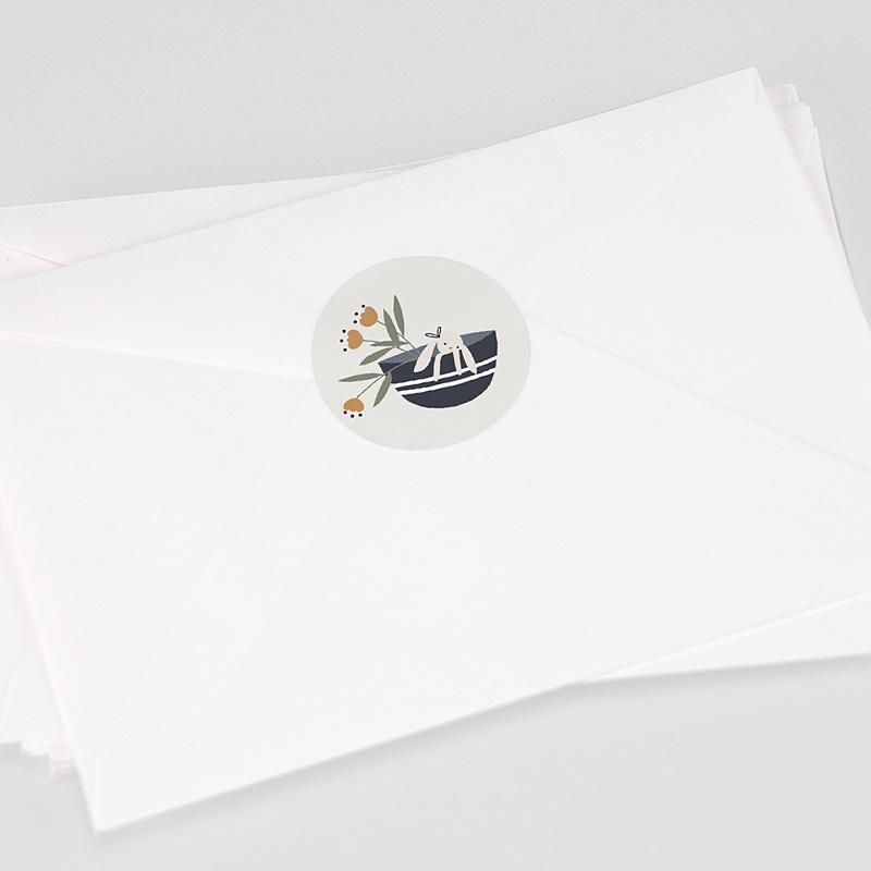Etiquette Autocollante Naissance Panier du Bonheur, 4,5 cm