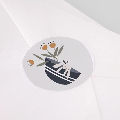 Etiquette Autocollante Naissance Panier du Bonheur, 4,5 cm pas cher