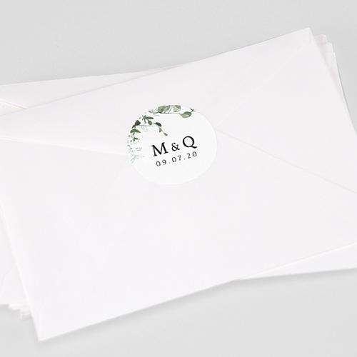 Etiquette Autocollante Mariage Eucalyptus Floral, 4,5 cm