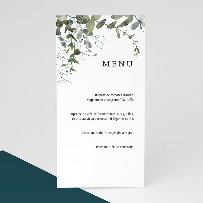 Menu Mariage Personnalisé Eucalyptus Floral, Vert tendre