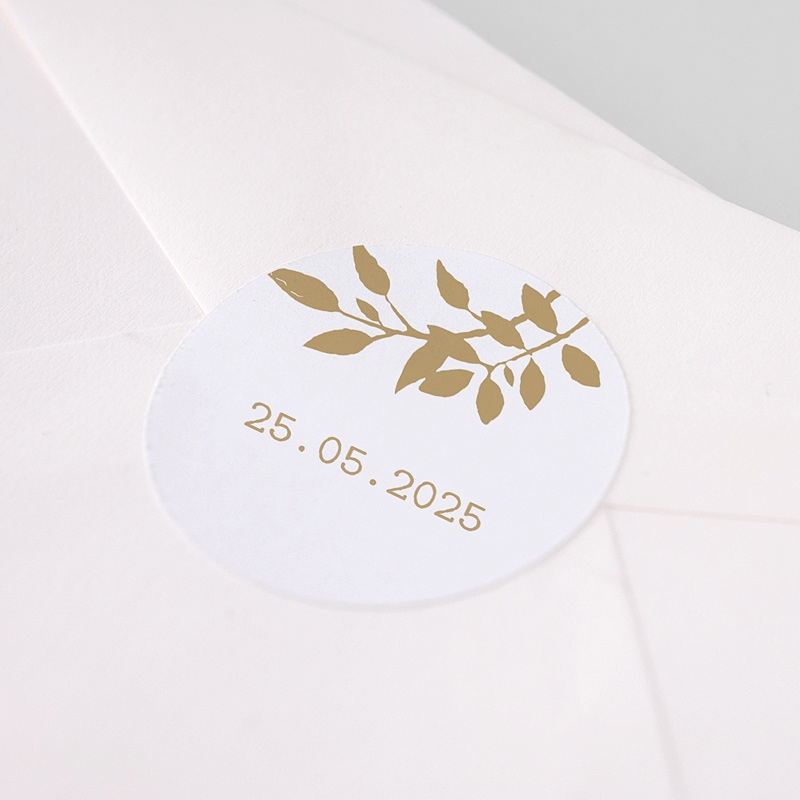 Etiquette Autocollante Mariage Nature White Kraft, 4,5 cm pas cher