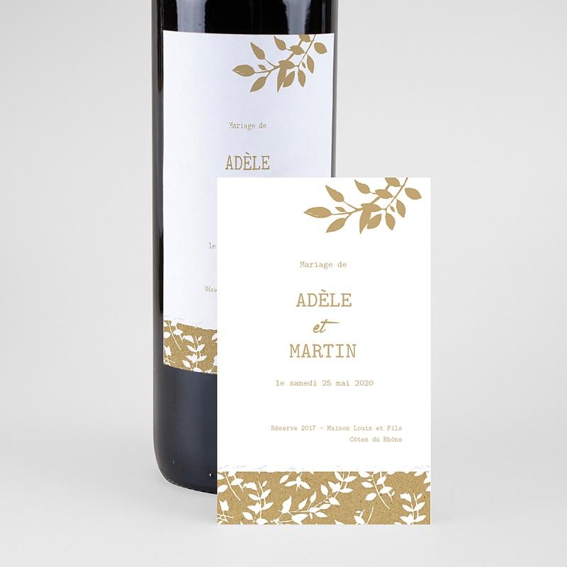 Etiquette Bouteille Mariage Nature White Kraft, 8 cm x 13 cm pas cher