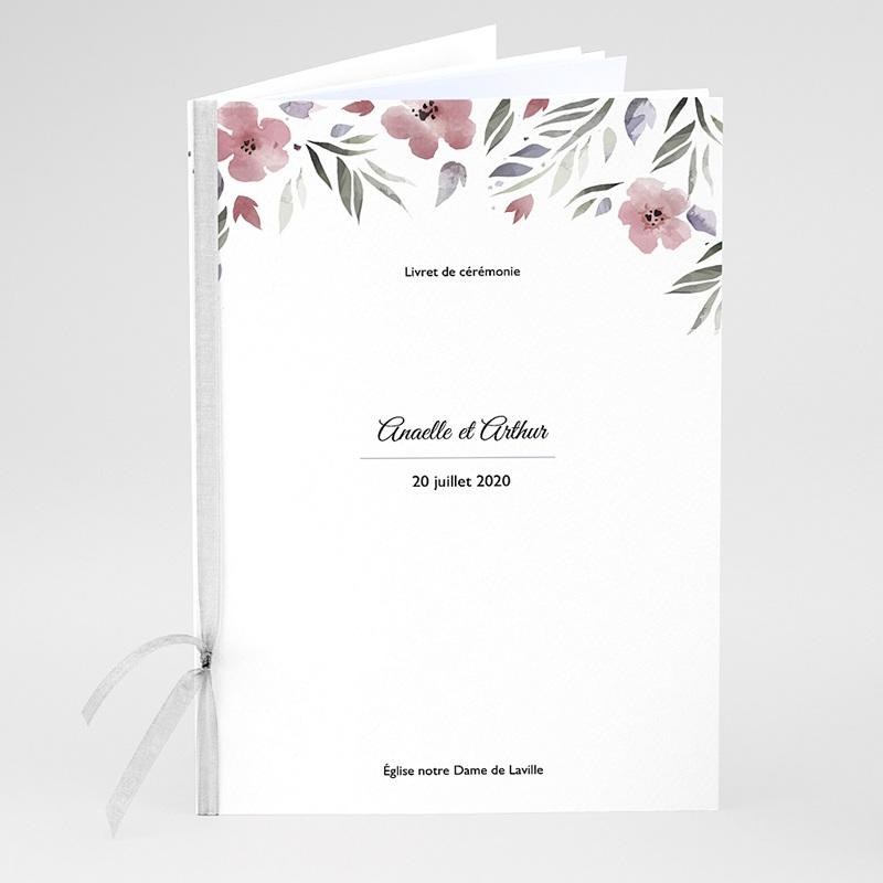 Livret Messe Mariage Fleurs romantiques, couverture 15x22
