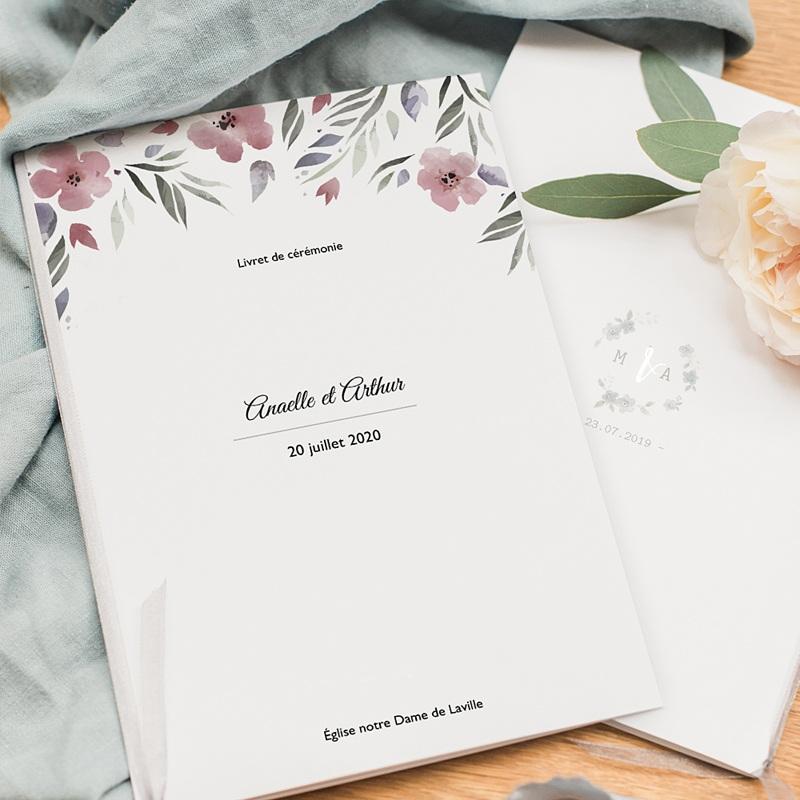 Livret Messe Mariage Fleurs romantiques, couverture 15x22 pas cher
