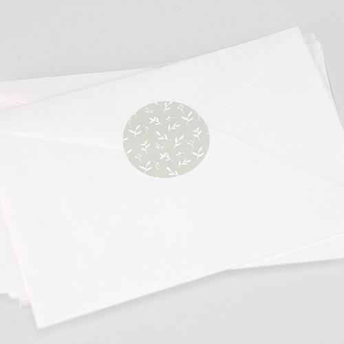 Etiquette Autocollante Naissance Brin de bonheur, Vert tendre, 4,5 cm