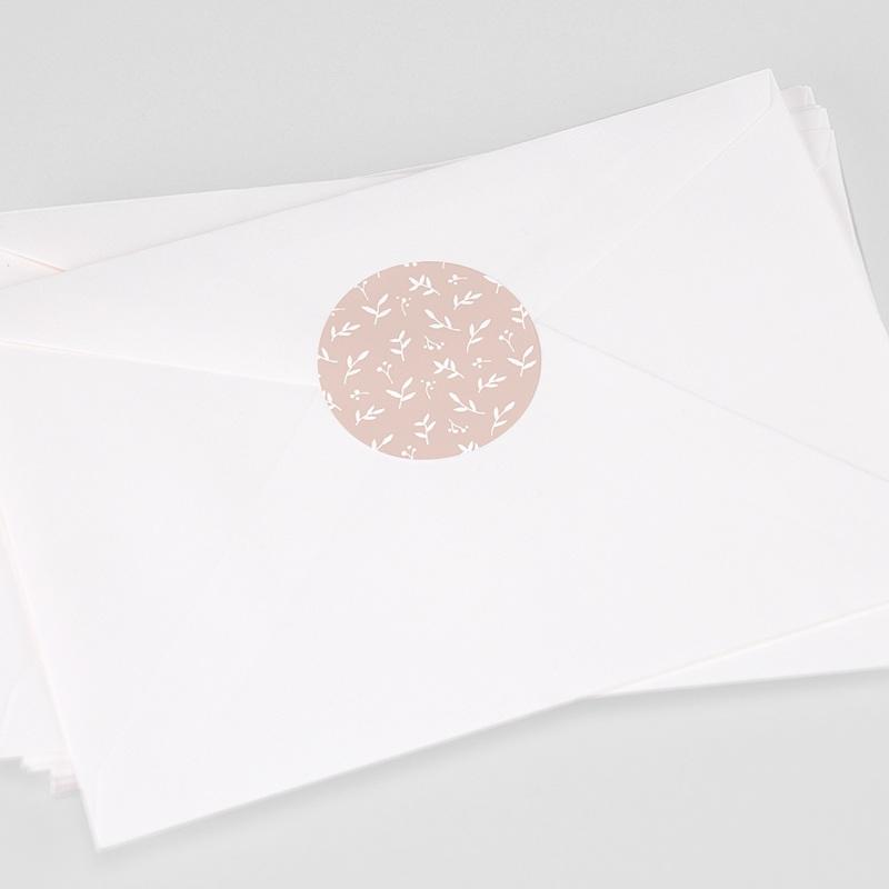 Etiquette Autocollante Naissance Brin de bonheur, rose tendresse, 4,5 cm