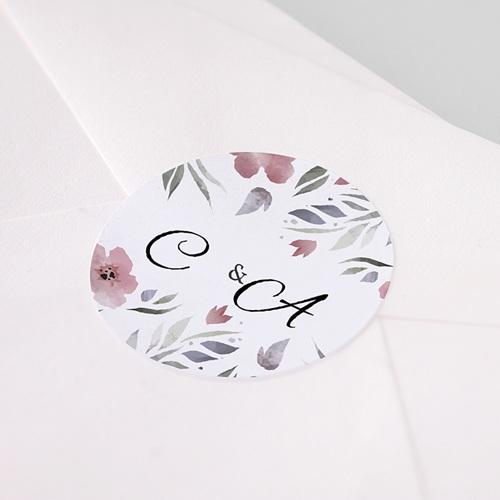 Etiquette Autocollante Mariage Fleurs romantiques, 4, 5 cm pas cher