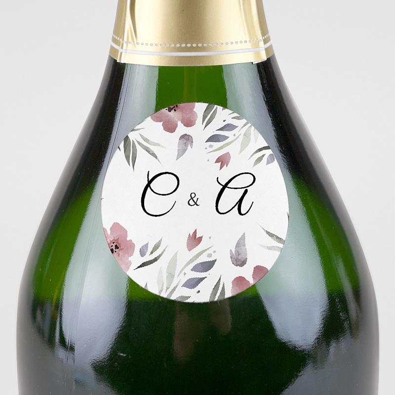 Etiquette Autocollante Mariage Fleurs romantiques, 4, 5 cm