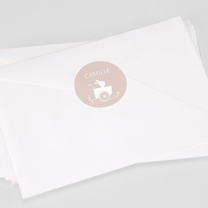Etiquette Autocollante Naissance Lapin Fille, Triporteur, 4,5 cm