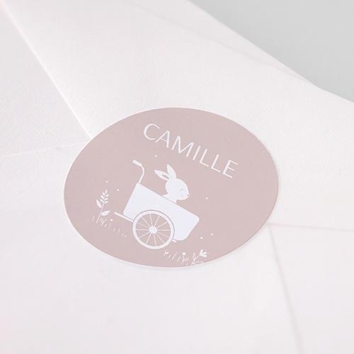 Etiquette Autocollante Naissance Lapin Fille, Triporteur, 4,5 cm pas cher