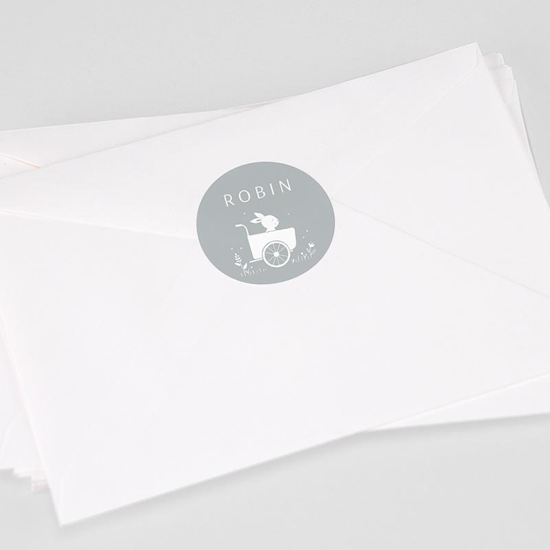 Etiquette Autocollante Naissance Lapin et Carriole, 4,5 cm