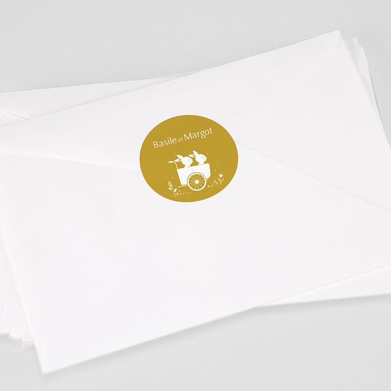 Etiquette Autocollante Naissance Lapins jumeaux, Triporteur, 4,5cm