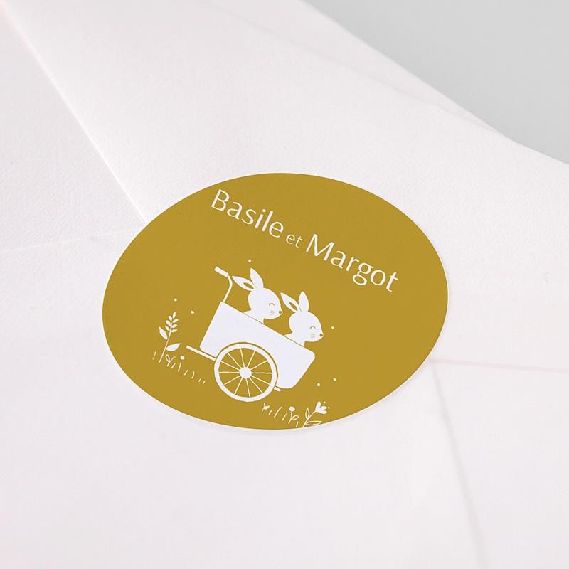 Etiquette Autocollante Naissance Lapins jumeaux, Triporteur, 4,5cm pas cher