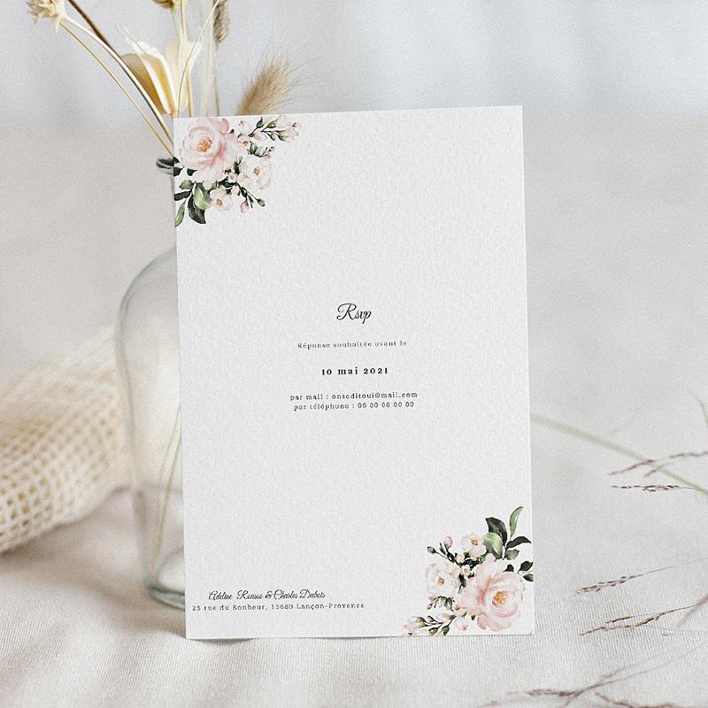 Faire-Part Mariage Classique Romantique Kraft, Carton pas cher