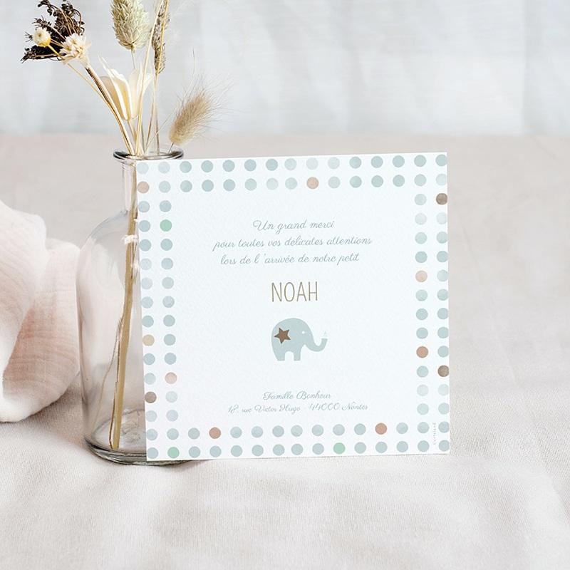 Carte Remerciement Naissance Photo Elephant, 1 Photo pas cher