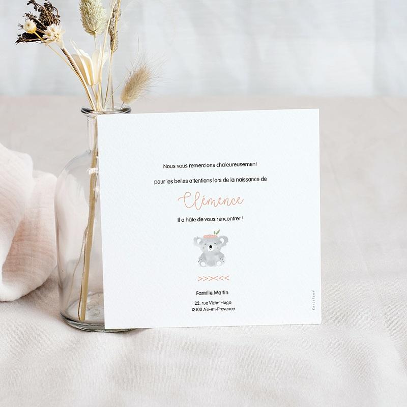 Carte Remerciement Naissance Frère et Soeur Koala Rose, 1 Photo pas cher