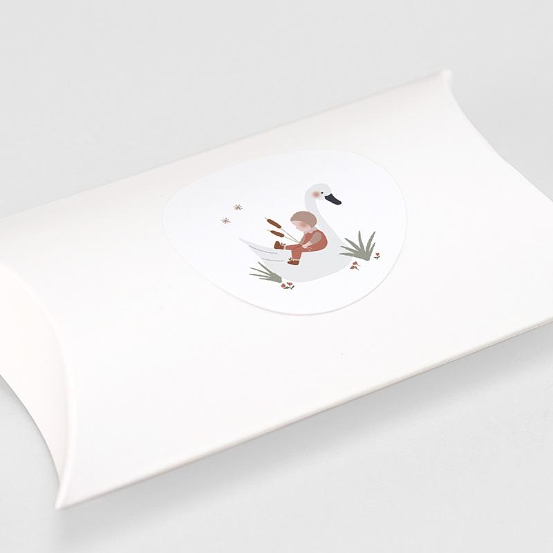 Etiquette Autocollante Naissance Bébé Cygne, Sticker gratuit