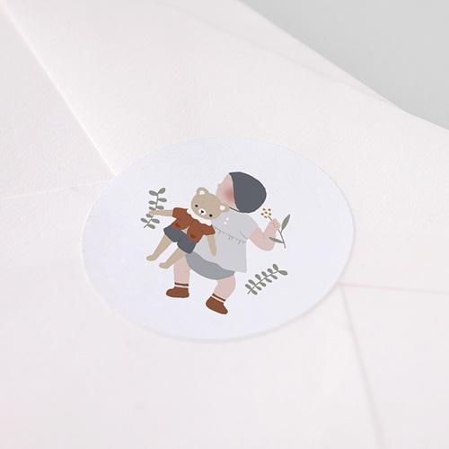 Etiquette Autocollante Naissance Ourson Porte-Bonheur, Sticker pas cher