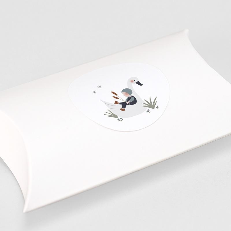Etiquette Autocollante Naissance Bébé Cygne, Gris Bleu, Sticker gratuit