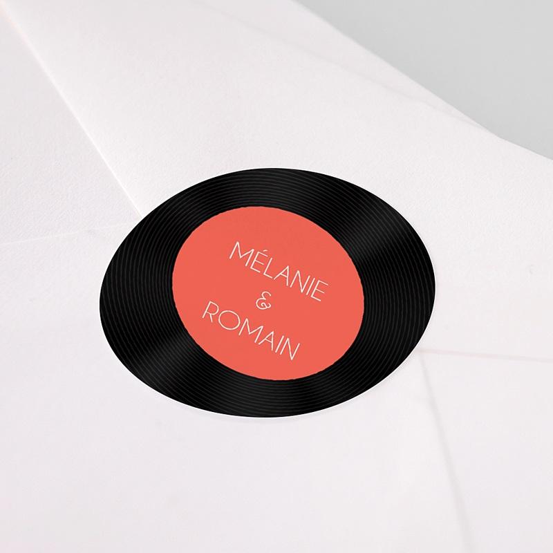 Etiquette Autocollante Mariage Disque Vinyl, Sticker pas cher