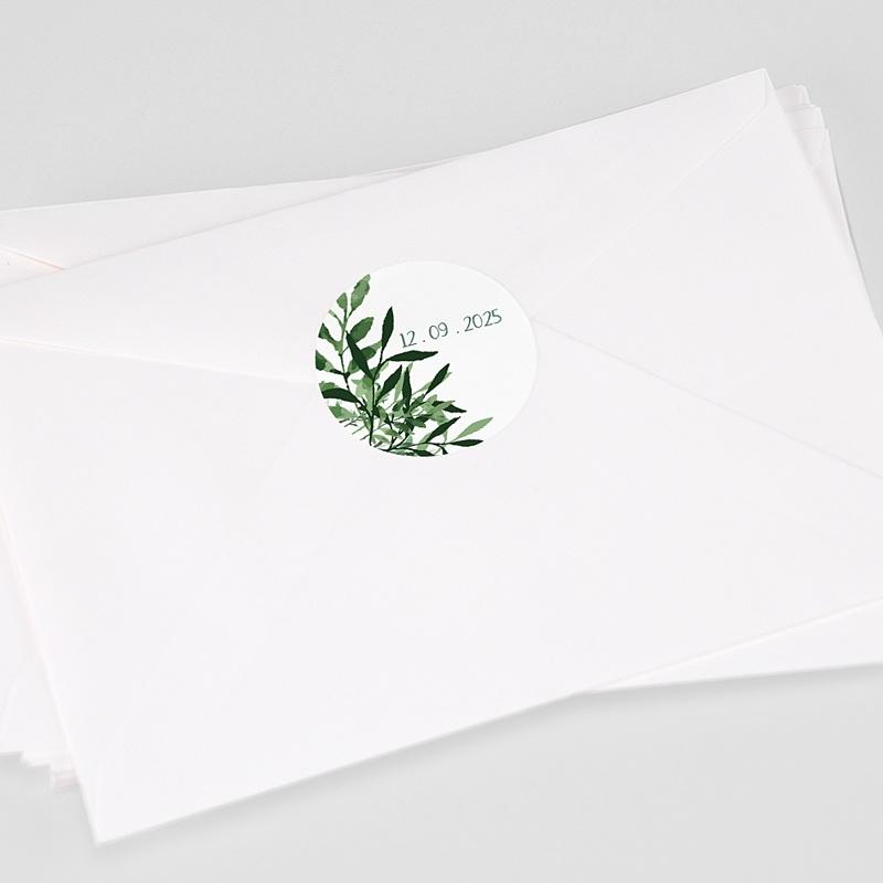Etiquette Autocollante Mariage Végétal, Sticker