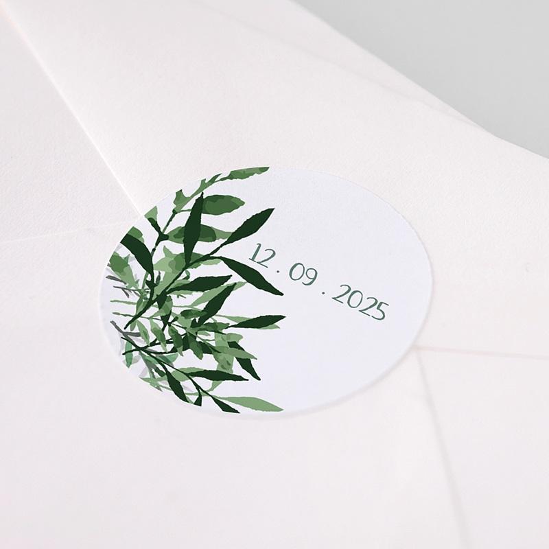 Etiquette Autocollante Mariage Végétal, Sticker pas cher