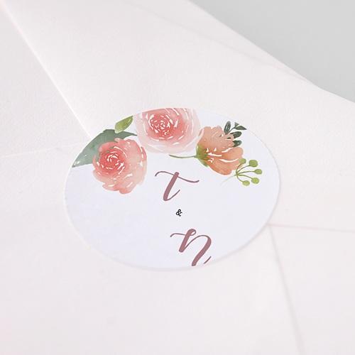 Etiquette Autocollante Mariage Diadème Floral, Sticker pas cher