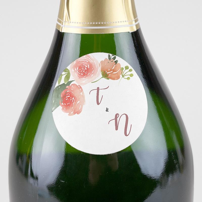 Etiquette Autocollante Mariage Diadème Floral, Sticker