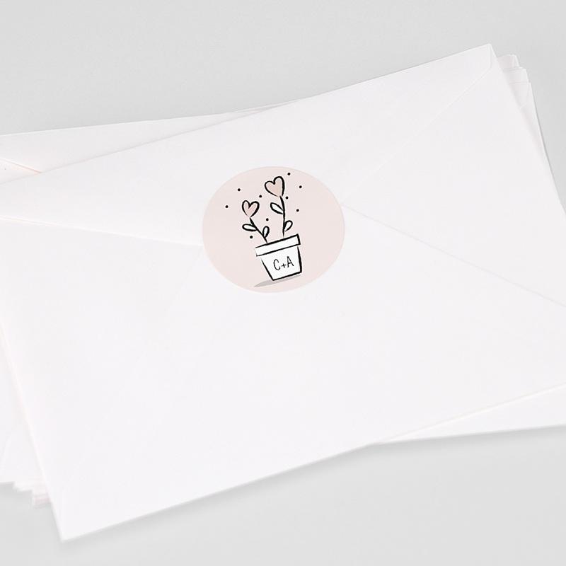 Etiquette Autocollante Mariage 2 coeurs, Sticker