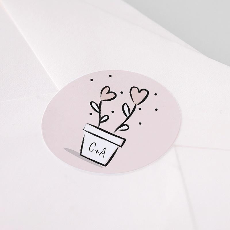 Etiquette Autocollante Mariage 2 coeurs, Sticker pas cher