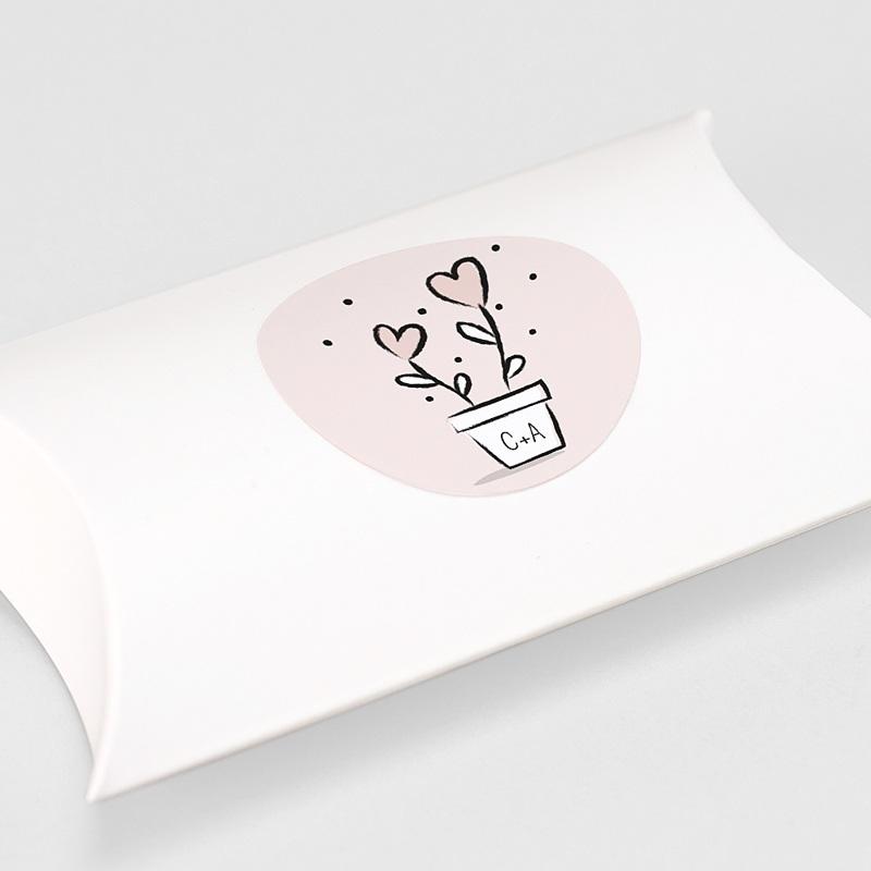 Etiquette Autocollante Mariage 2 coeurs, Sticker gratuit
