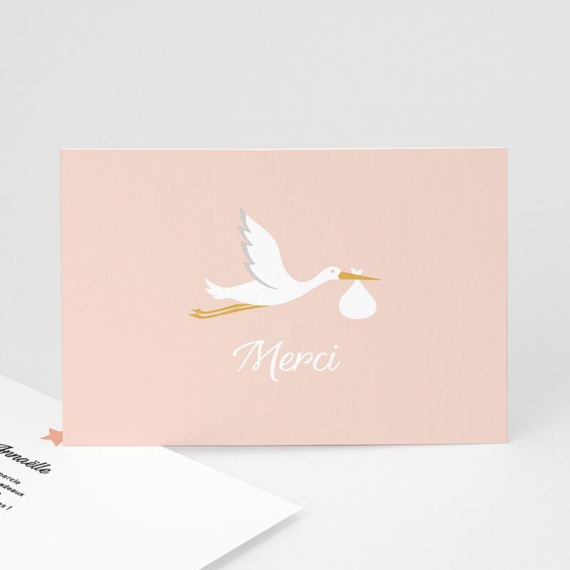 Carte Remerciement Naissance Fille Cigogne rose, Dorure