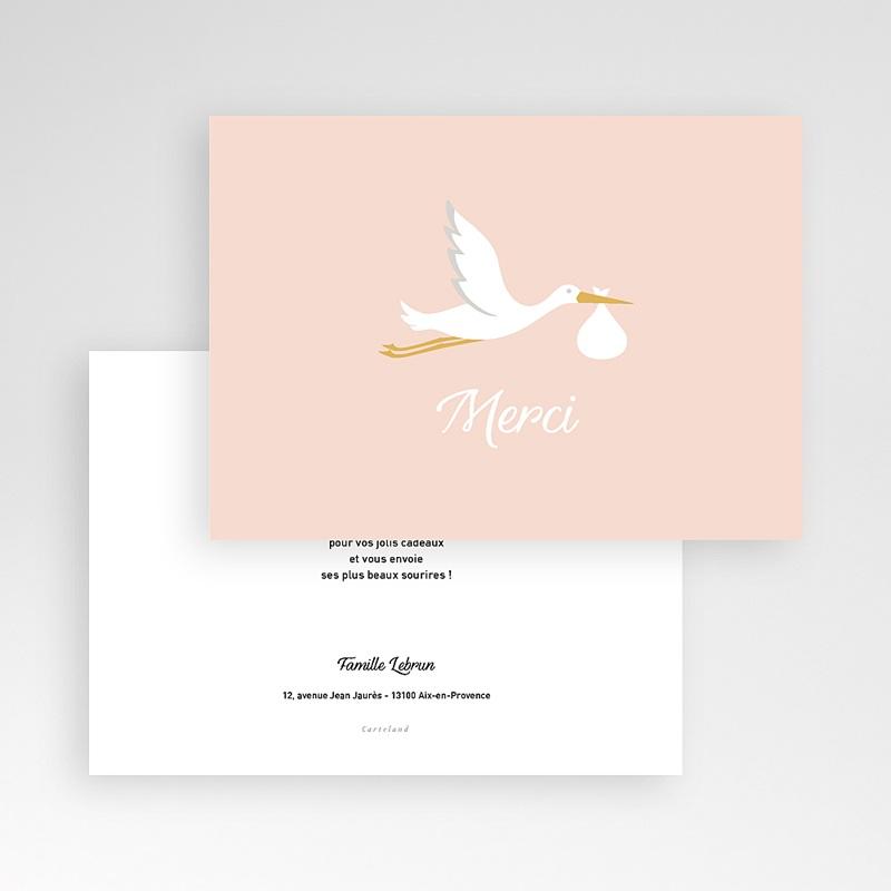 Carte Remerciement Naissance Fille Cigogne rose, Dorure pas cher