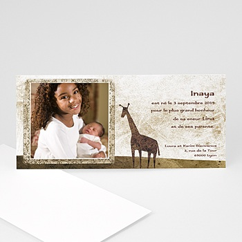 Faire-part naissance girafe à personnaliser