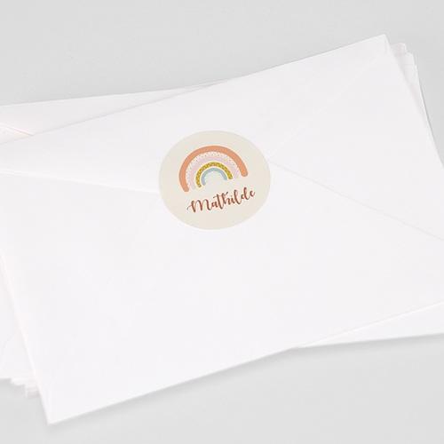 Etiquette Autocollante Naissance Arc-en-ciel Oranger, Sticker