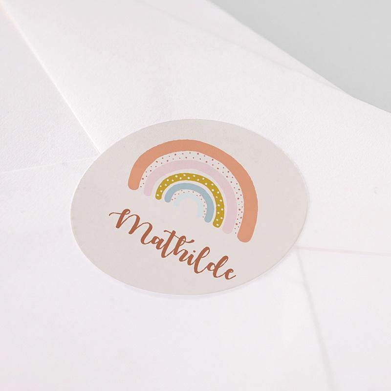 Etiquette Autocollante Naissance Arc-en-ciel Oranger, Sticker pas cher