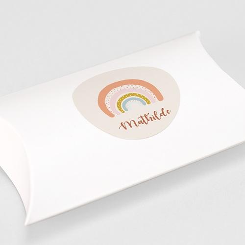 Etiquette Autocollante Naissance Arc-en-ciel Oranger, Sticker gratuit