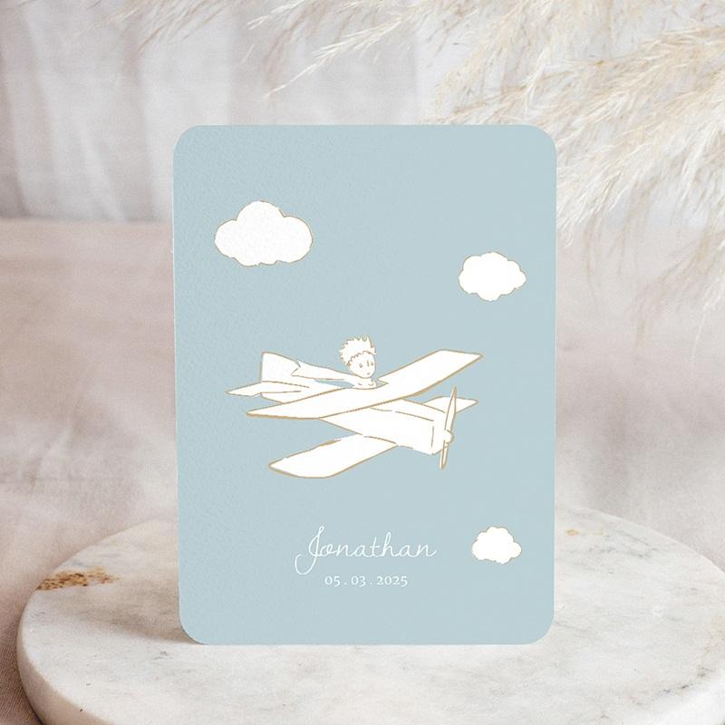 Faire-Part Naissance Le Petit Prince Petit Prince en avion, bleu