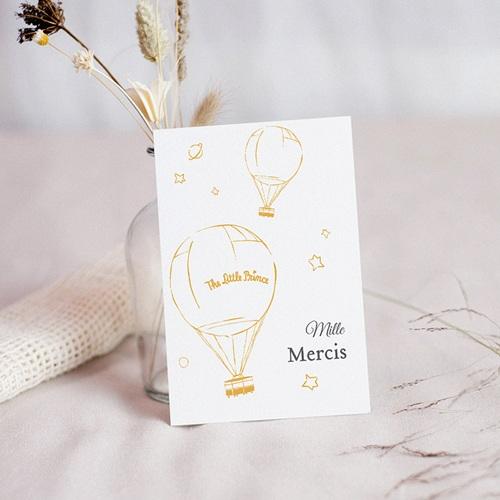 Carte Remerciement Naissance Le Petit Prince The Little Prince, Montgolfière dorée