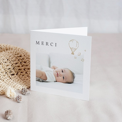 Carte Remerciement Naissance Le Petit Prince La Montgolfière du Petit Prince, Dorure
