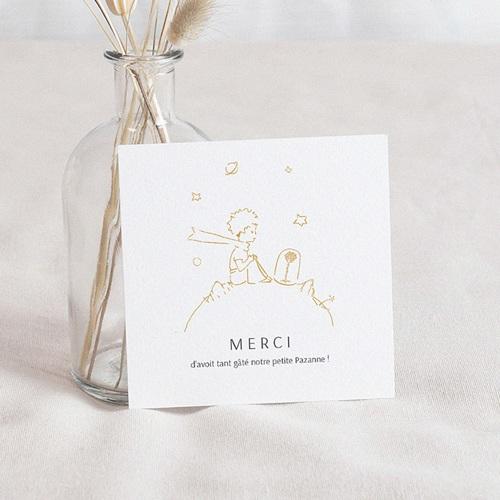 Carte Remerciement Naissance Le Petit Prince Une rose unique, dorée, Merci